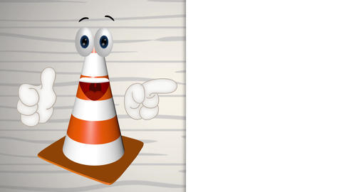 construction cone site wait inactive funny cartoon illustration Animation