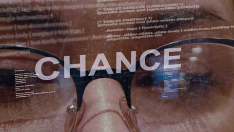 Chance text on background of female developer Live Action