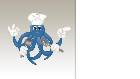 Funny Cartoon Octopus Cook Animation Pack