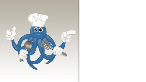 Funny Cartoon Octopus Cook Animation Pack 0