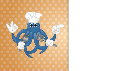Funny Cartoon Octopus Cook Animation Pack 1