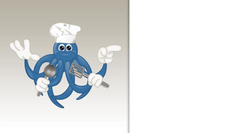 Funny Cartoon Octopus Cook Animation Pack 2