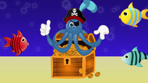Funny Pirate Octopus Squid Animation Pack