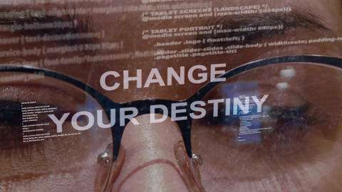 Change your destiny text on background of female developer Live Action