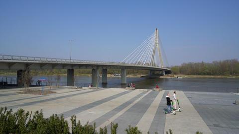 The bridge over the Vistula river in Warsaw Footage