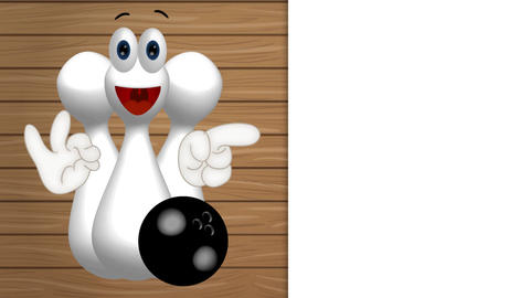 Funny Cartoon Bowling Ninepins with eyes and hands showing to empty placeholder Animation