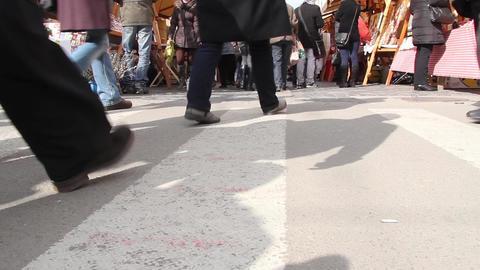 Legs of people crossing a pedestrian crossing 85 Footage
