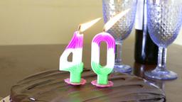 40 on cake burning wine background 2 Live影片