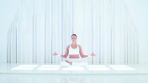 Attractive Woman Do Yoga Exercise stock footage