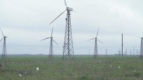 Wind Turbines Generating Power Live Action