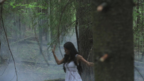 Girl In A Mysterious Foggy Forest Footage