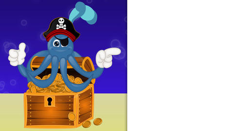Funny pirate octopus squid with treasure under water Stock Video Footage