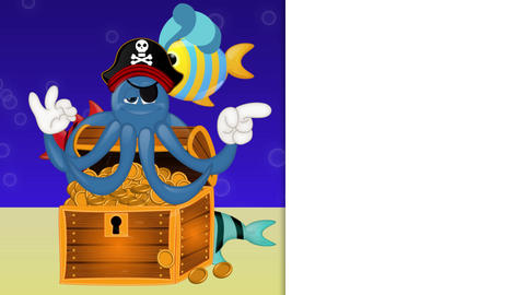 Funny Pirate Octopus Squid Animation Pack 1