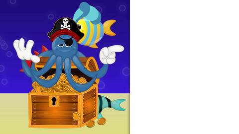 Funny Pirate Octopus Squid Animation Pack 2