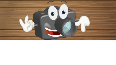 Funny cartoon camera with hands and eyes showing to empfy placeholder Animation