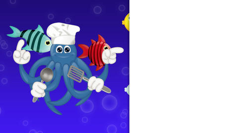 Funny squid octopus cook restaurant seafood ocean cartoon Animation