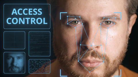 Security system scanning man's face. Electronic access control related clip Footage