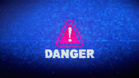 Danger Text Digital Noise Twitch Glitch Distortion Effect Error Animation Live Action