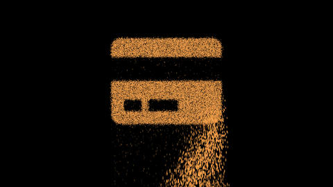 Symbol credit card appears from crumbling sand. Then crumbles down. Alpha channel Premultiplied - Animation