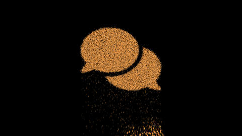 Symbol comments appears from crumbling sand. Then crumbles down. Alpha channel Premultiplied - GIF