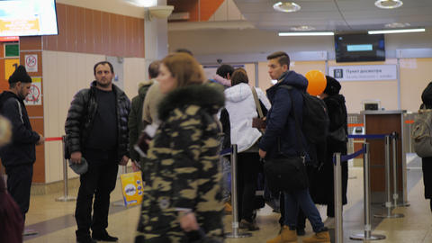 Passengers waiting at the gates in Sheremetyevo Airport, Moscow Live Action