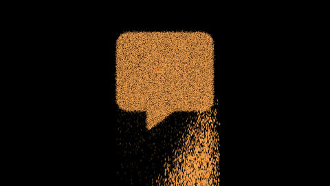 Symbol comment appears from crumbling sand. Then crumbles down. Alpha channel Premultiplied - Matted Animation
