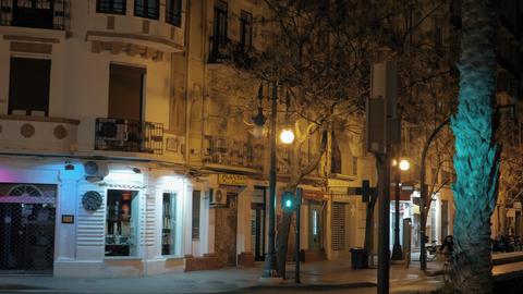 Night walking in quiet street of Valencia, Spain Footage