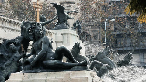 Fountain Of The Argentine National Congress, In Buenos Aires. Cherub Detail Live Action