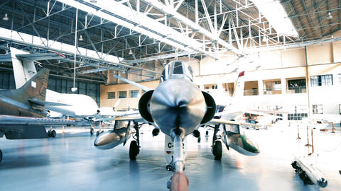 Fighter Plane Inside A Military Hangar Awaiting Deployment Footage