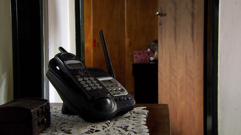 Old Phone On The Bedside Table Stock Video Footage