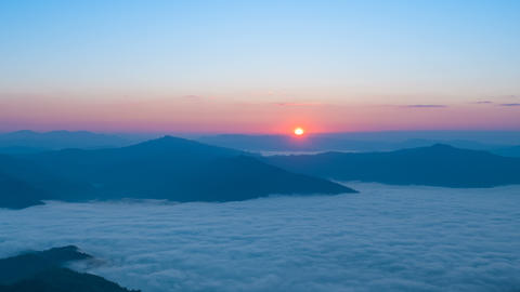 Sunrise over the mountain and fog beautiful nature landscape, timelapse Footage