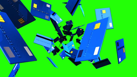 Blue Credit cards on green chroma key Stock Video Footage