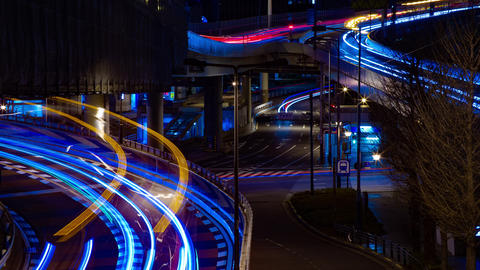 Night time lapse street at the business town in Akasaka Tokyo middle shot Archivo