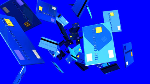 Blue Credit cards on blue background Animation