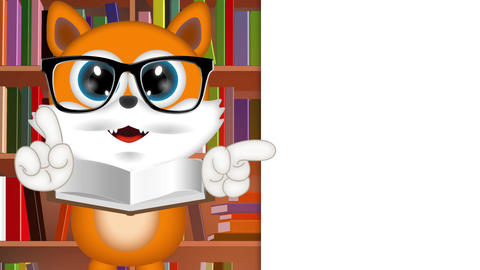 Marvin Cat Teacher Funny Cartoon Comic Illustration with background Animation
