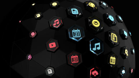 Digital spherical interface with colorful icons and links Animation