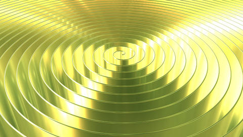 Spinning shiny golden coil. Loopable 3D animation Live Action