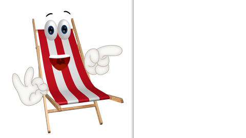 Funny Cartoon Dock Chair Comic Illustration with summer background Animation