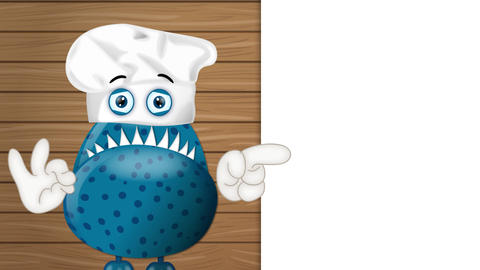 Funny Monster Cook Cartoon