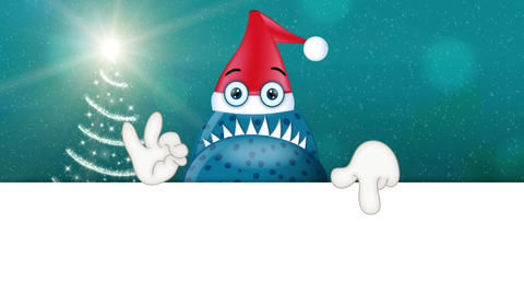 Monster Garry with santa clause hat christmas advertising space funny Animation