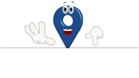 Funny cartoon location icon shows to empty placeholder Animation