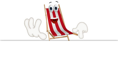 Funny Cartoon Dock Chair Comic Illustration with summer... Stock Video Footage