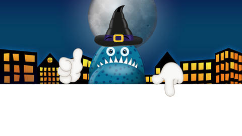 Monster Garry with Magic Hat Halloween Cartoon Advertising Space Animation