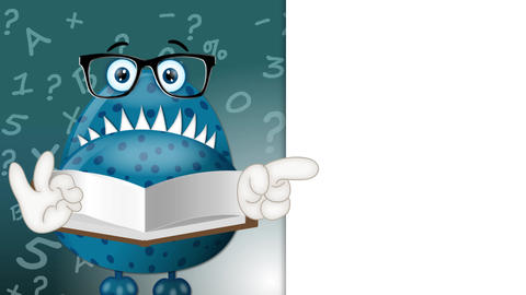 Funny Monster Teacher Cartoon Character Illustration blue Animación