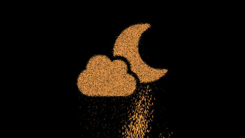 Symbol cloud moon appears from crumbling sand. Then crumbles down. Alpha channel Premultiplied - Animation