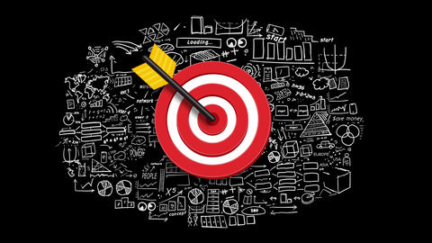 Target on infographic background Animation