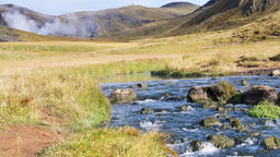 Hveragerdi Hot Springs river or small creek in Reykjadalur, Iceland with steam Footage