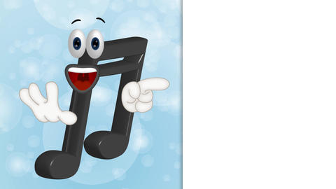 Funny Cartoon Music Note Character showing to empty placeholder Animation