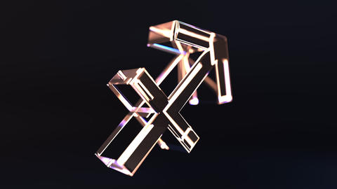 Rotating glass Sagittarius Zodiac sign, loopable 3D animation Footage