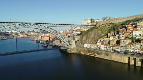 Dom Luis Bridge and historic district of Porto Footage